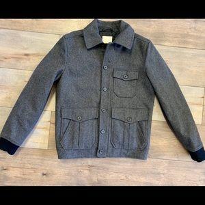 Gap Alfie Bomber Gray Black Wool Blend Jacket